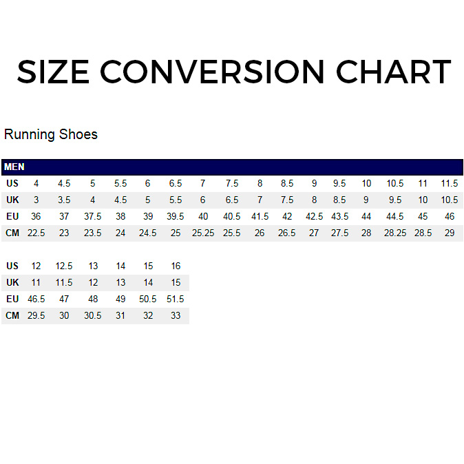 Asics Shoe Sizing Chart Uk