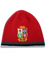British & Irish Lions Rugby Acrylic Fleece Beanie Hat - Red