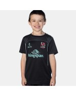 Kid's Ulster Rugby Performance Athletic Fit Tee - Black (2017-2018)