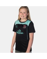 Girl's Ulster Rugby Performance Athletic Fit Tee - Black/Duck Egg (2017-2018)