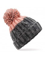 Cable Knit Pom-Pom Beanie Hat (Graphite Grey/Blush)
