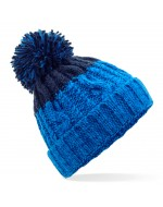 Cable Knit Pom-Pom Beanie Hat (Azure Blue/Oxford Navy)