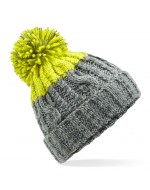 Cable Knit Pom-Pom Beanie Hat (Light Grey/Citron)