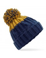 Cable Knit Pom-Pom Beanie Hat (Oxford Navy/Mustard)