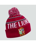 British & Irish Lions Rugby Fleece Lined Bobble Hat (Red)