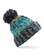 Cable Knit Pom-Pom Beanie Hat (Marine Splash)