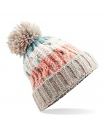 Cable Knit Pom-Pom Beanie Hat (Milkshake Mix)