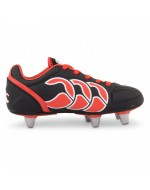 Kids Stampede Club 6 Stud Rugby Boots - Black / Molten Lava