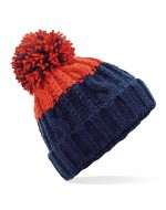 Cable Knit Pom-Pom Beanie Hat (Oxford Navy/Fire Red)
