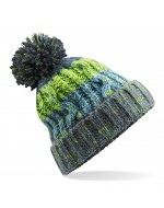 Cable Knit Pom-Pom Beanie Hat (Electric Grey)