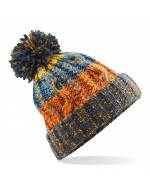 Cable Knit Pom-Pom Beanie Hat (Retro Blue)