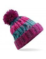 Cable Knit Pom-Pom Beanie Hat (Winter Berry)