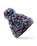 Twister Knit Pom-Pom Beanie Hat (Candy)