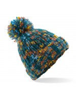 Twister Knit Pom-Pom Beanie Hat (Retro)